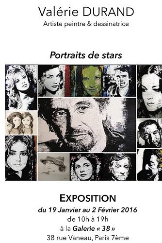 Valérie DURAND expose ses portraits de stars à la Galerie 38