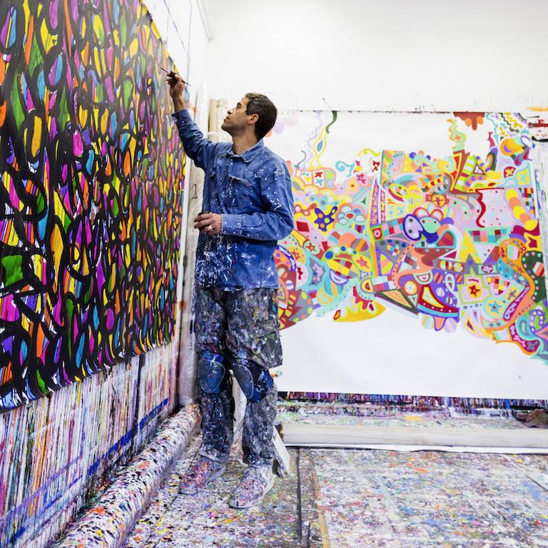 Lefranc Bourgeois invite JonOne pour un live painting aux Beaux Arts de Paris.