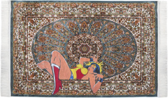 Ali Cha'aban, The Broken Dream II, 2018, sérigraphie sur tapis persan, 170 x 220 cm, Courtesy Hafez Gallery, Djeddah