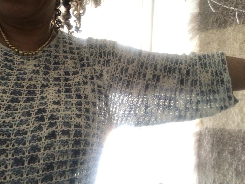 DETAIL Pull crochet Bleu Bonheur