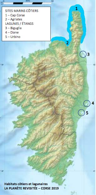 Localités et habitats marins échantillonnés en 2019 © Eric Gaba Wikimedia Commons user: Sting