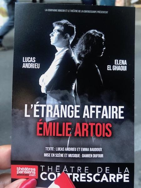 zenitudeprofondelemag.com - L'ÉTRANGE AFFAIRE EMILIE ARTOIS AU THÉÂTRE DE LA CONTRESCARPE