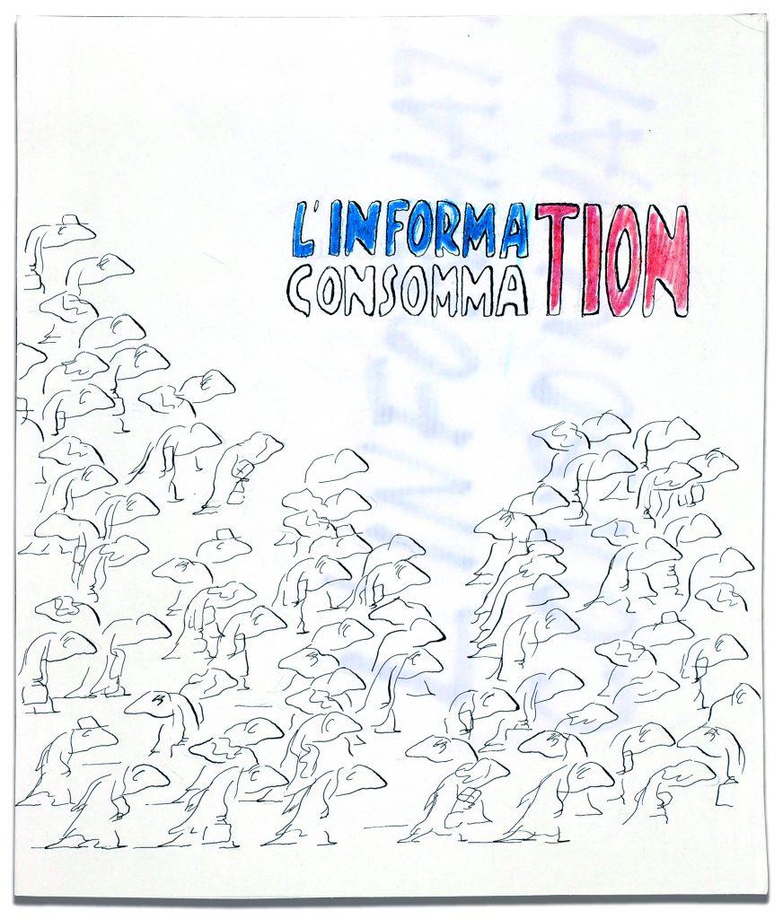 Projet de maquette de Jean-Jacques Sempé pour la couverture du livre L'Information Consommation, éditions Denoël, 1968 © J.J. Sempé