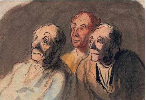 Trois spectateurs attentifs, d' Honoré Daumier (1808-1879), crayon, encre et aquarelle sur papier, 10.2 x 12.1 cm / Jill Newhouse